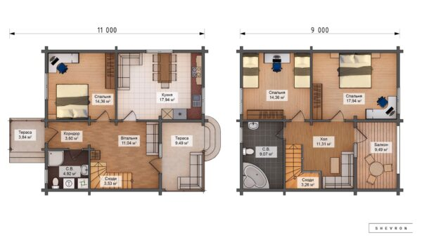 Проект деревянный дом, строительство дома из бруса, сруба D027