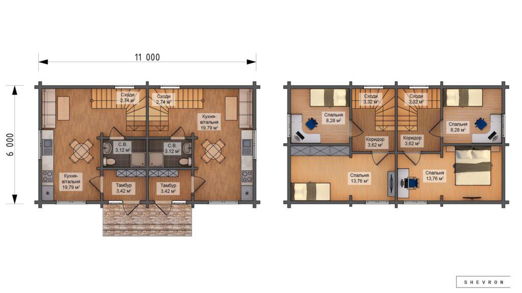 Проект деревянный дом, строительство дома из бруса, сруба D030