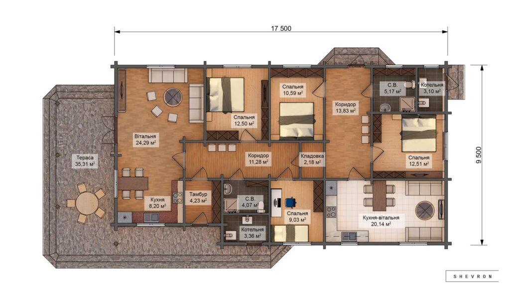 Проект деревянный дом, строительство дома из бруса, сруба D034
