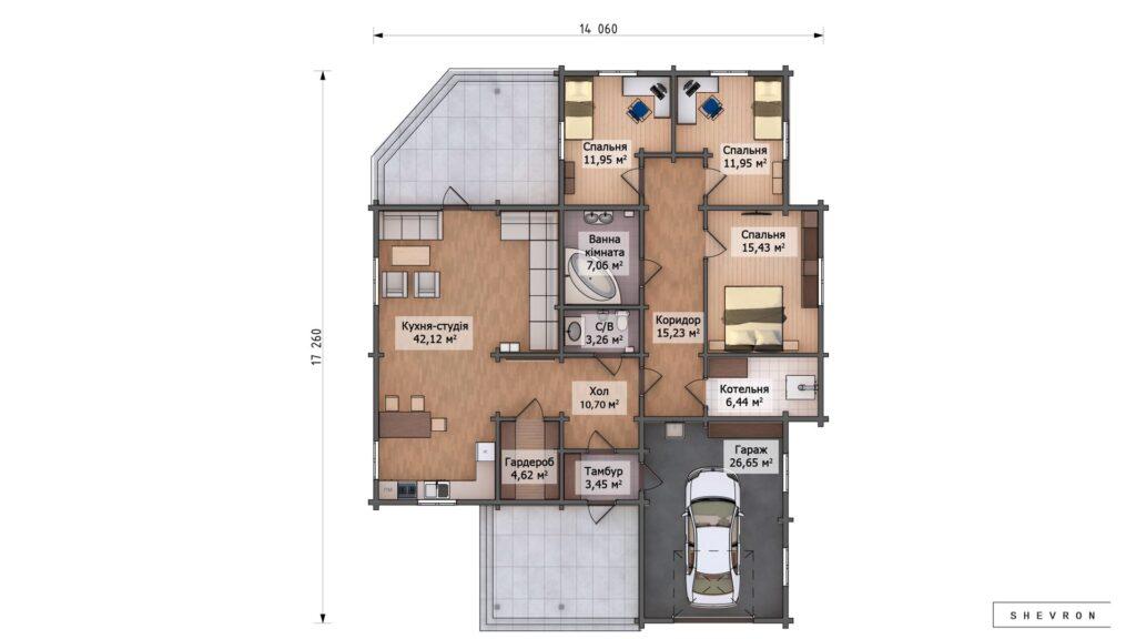 Проект деревянный дом, строительство дома из бруса, сруб. из дерева, деревянный дом цена план дома D048