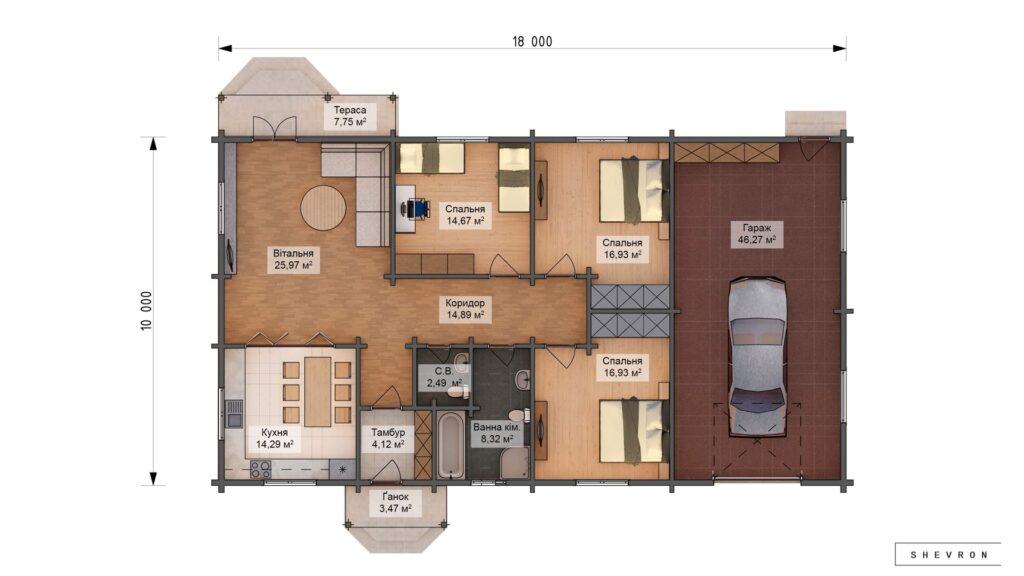 Проект деревянный дом, строительство дома из бруса, сруб. из дерева, деревянный дом цена план дома D055