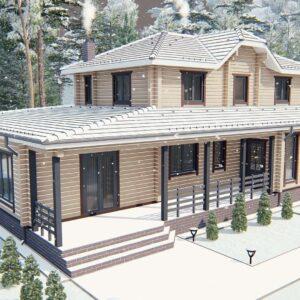 Строительство деревянный дом из бруса сруб из дерева деревянный цена купить D009